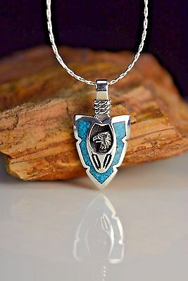Sterling silver Small Arrowhead pendant w/ American Eagle & feathers w Turquoise