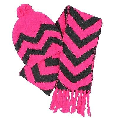 Chenille Hat & Scarf Pink 2 Item Set for Girls M/L Winter Kit Jumping Beans