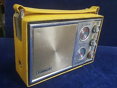 Vintage Parker DeLuxe Solid State Radio in Yellow Vinyl Cover