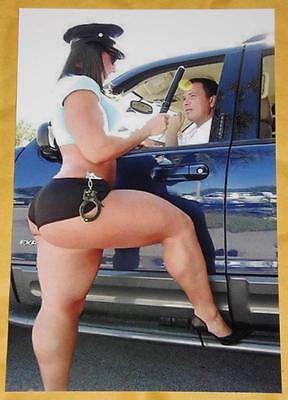AMAZING Busty Cop Girl Big Butt Police Woman Model Pinup Boobs 4x6 Photo M86
