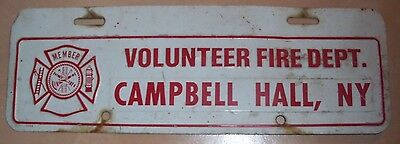 Early Campbell Hall Ny Fire Dept Firefighter License Plate Topper Orange County