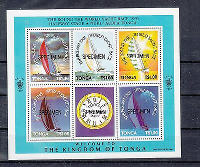 Tonga 1991 Round the world Yacht Race M/sheet opt SPECIMEN.Sg MS1129s.MUH/MNH