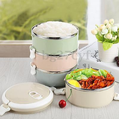 Portable Stainless Steel Thermal Insulated Lunch Box Bento Food Container Handle