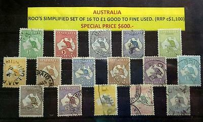 Australia Kangaroo Stamps Simplified  Set Of 16 To £1 Good To Fine Used Stamps