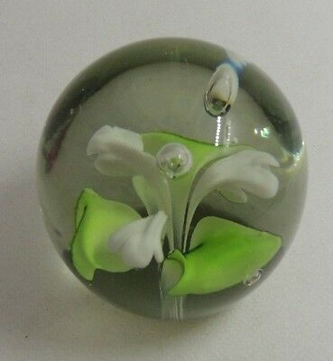 Vtg Studio Art Glass  White Lilly Paperweight Unsigned- 2 3/4""