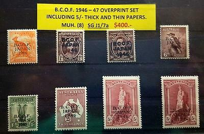Australia Bcof 1946-1947 Overprint Set 8 Stamps Including 5/- Thick & Thin Paper