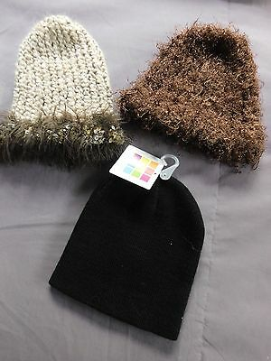 Lot of 3 Adorable Fall Winter Hat Cap Beanie for baby girl 3-12 mos.