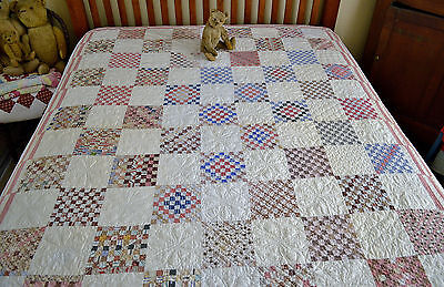 Antique 19th century Hand Stitched Postage Stamp Quilt *