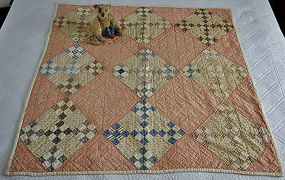 Antique 19th century Hand Stitched Nine Patch Calico Crib Quilt