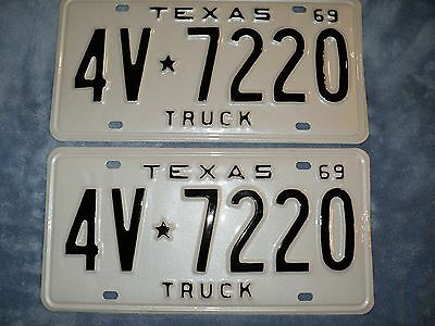 RESTORED 1969 Texas Truck License Plates