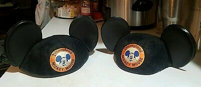 2 Vintage 1960's Disneyland Mickey Mouse Productions Ears Hat Cap Embroidered