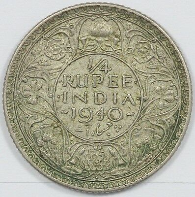 "1940 George VI British India Silver 1/4 Rupee ""Collectable Grade"""