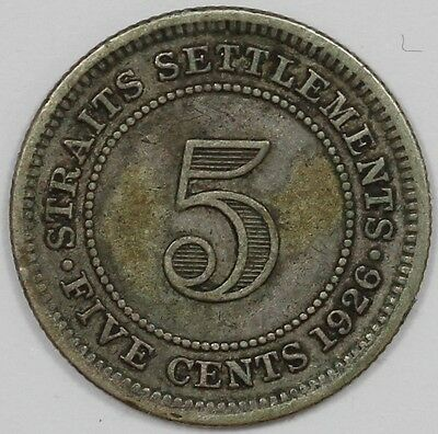 1926 George V Straits Settlement Silver 5 Cent Coin
