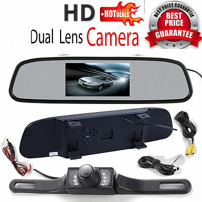 "Car Rear View Back 4.3"" TFT LCD Monitor Mirror+ 7 IR LEDs Night Vision Camera AU"