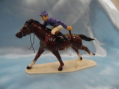 Hagen Renaker Race Horse With Jockey Purple Silks 3297 Miniature Figurine  New