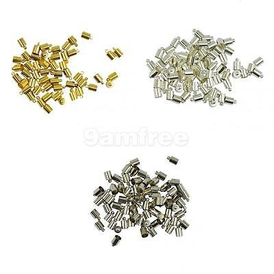 50x Brass End Cap Leather Kumihimo Rattail Cord DIY Jewelry Making Finding 6mm