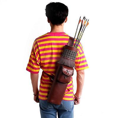 Traditional PU Leather Back Bag Archery Quiver Bow Arrow Holder Pouch