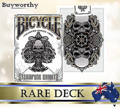 Rare Steampunk Bandits White BICYCLE Embossed Box Poker Playing Cards Deck