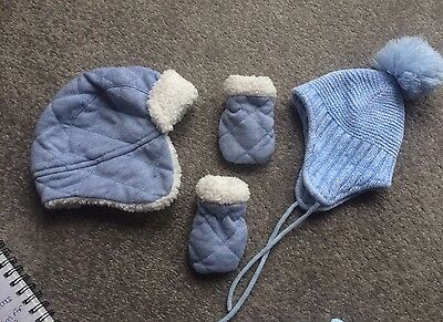 Baby Boy Winter Hat Bundle, 2 Hats And Pair Of Mittens 3-6months