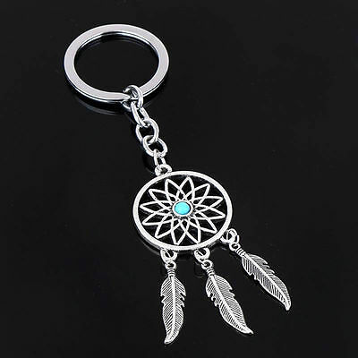 New Silver Turquoise Dream Catcher Keyring Feather Tassels Keychain