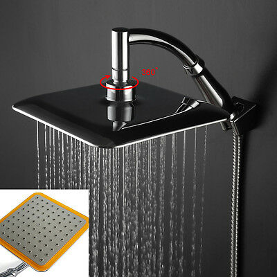 "Modern 9""Square Chrome Stainless Steel Water Rainfall Overhead Shower Head"