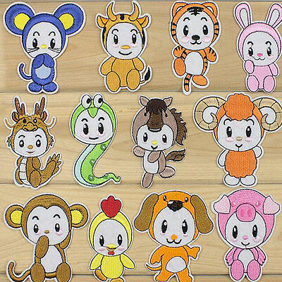 Embroidered Sew Iron on Patch Chinese Zodiac Animal Toys Bag Applique 2017