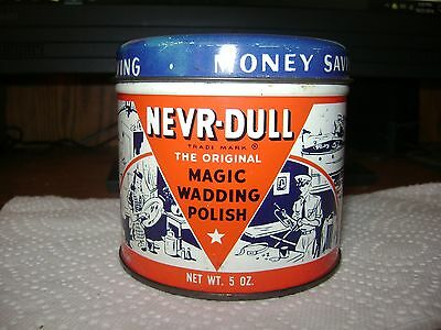 Vintage 1941 Nevr-Dull The Original Magic Never Dull Wadding Polish 5 OZ Tin Can
