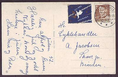 z1951/ Denmark Postcard Cover with Angel Christmas Seal 1952