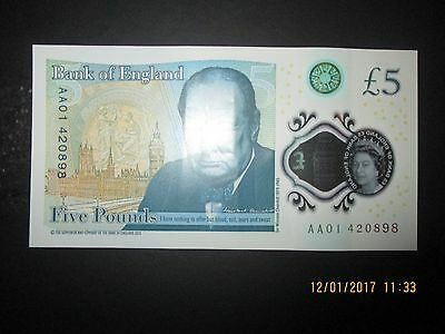 Low Serial Number AA01 RARE 2016 £5 POLYMER Five Pound Note