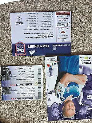 Ipswich Town Vs Nottingham Forest ~ Sat 19th Nov 2016 incl tickets & teamsheets