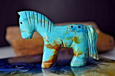 Authentic Navajo Native American Indian carved Royston Turquoise Horse Fetish