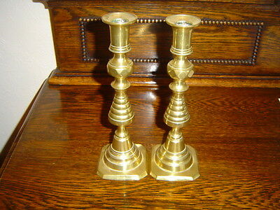 Old Antique Victorian Pair of Brass Candlesticks. Rd No 223580.