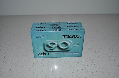3 Teac Cdx 1 - Cassette Tapes - Type 1 - 90 Minutes [Sealed]