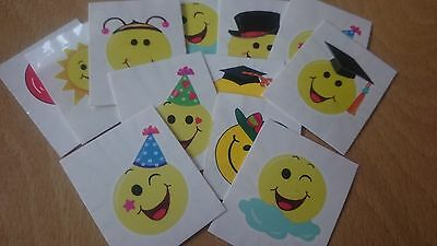 12 x smiley emoji tattoos party bag fillers boys girls birthday