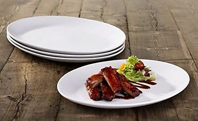 Dinner Dishes Set Of 4 White Porcelain Oval Steak Plates Kitchen Dinning
