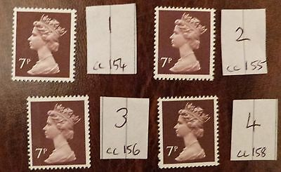 GB QE11 Machin 7p brown specialist collection 4 different MNH