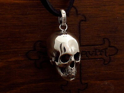 MySacrum  SILVER 925 ANATOMICAL SKULL PENDANT ON LEATHER
