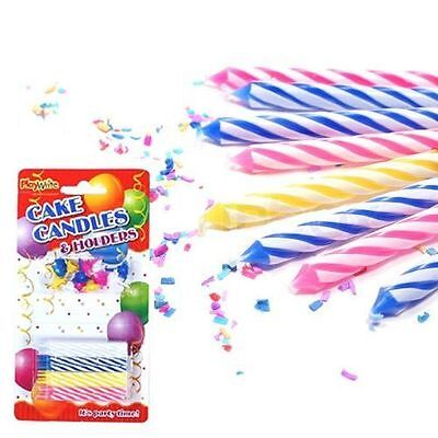 24 Multicoloured Spiral  Birthday Party Cake Candles & Candle Holders