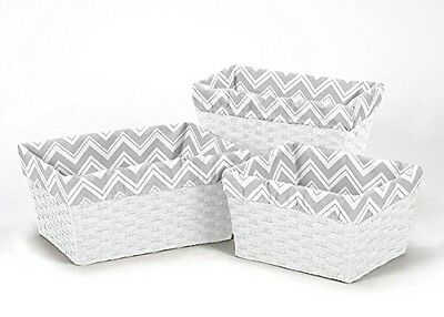 Sweet Jojo Designs Set of 3 One Size Fits Most Basket Liners for Chevron Zig Zag