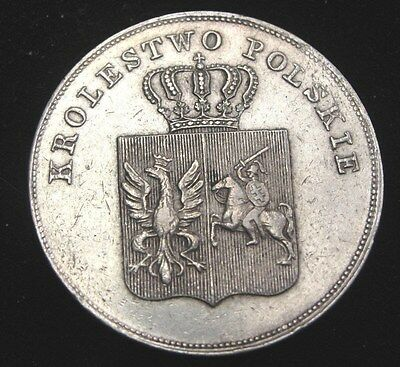 1831 Poland 5 Zlotych Silver Coin Looks AU #C124