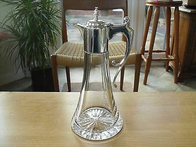 Solid Silver Mounted Crystal Claret Jug - Camelot Silverware Ltd. Sheffield 1997