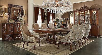 Homey Design HD-124 Traditional Pearl Beige Upholstered Dining Room Set 9 Pcs