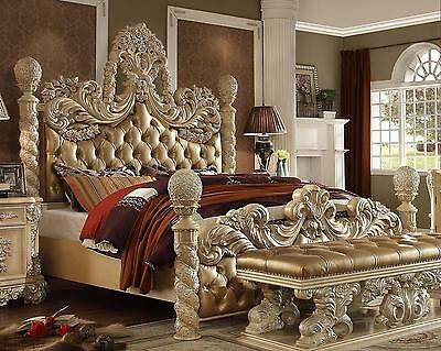 Homey Design HD7266 Traditional Ornately Golden Khaki Bonded Leather Eastern Bed