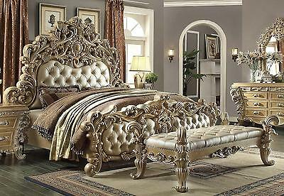 Homey Design HD-7012 Victorian Luxury Champage Button Tufted Eastern King Bed