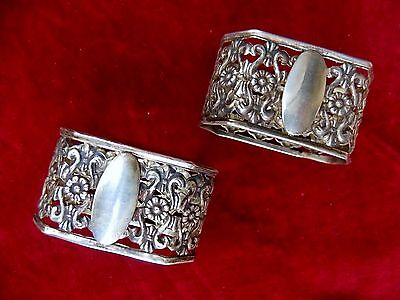 Daisies solid silver pair napkin rings .800 Repousse no monogram