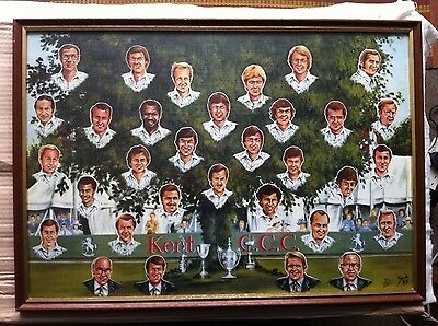 Kent County Cricket team - framed ltd ed print of painting by Grant Jacob-1983