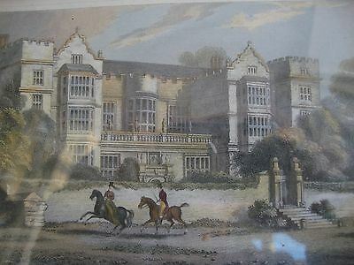 Antique Coloured Engraving Fountains Hall By Fenner Scars & Co. Drawn Whittock