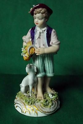 Vintage Capodimonte Figure Of Boy With Wheat And Dog..