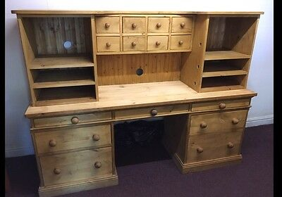 Solid Chunky Pine Large Office  Desk, Storage Drawers Compartments  / Home Desk