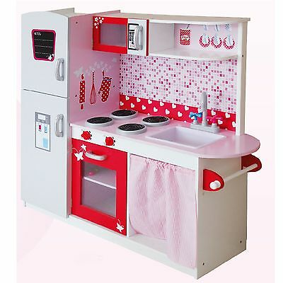 BIG WOODEN KITCHEN WITH FRIDGE by LEOMARK - PINK - NEW MDF